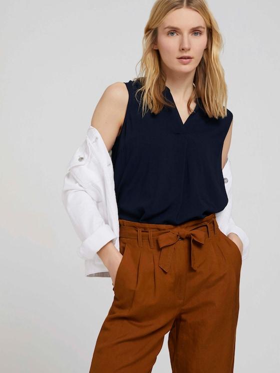 Mouwloze Henley blouse - Vrouwen - Sky Captain Blue - 5 - TOM TAILOR