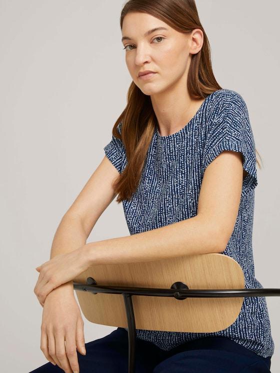 Blouse met korte mouwen met dessin - Vrouwen - blue minimal design vertical - 5 - TOM TAILOR