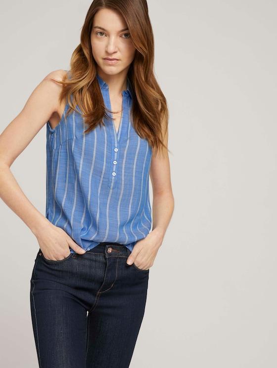 Mouwloze gestreepte Henley blouse - Vrouwen - blue stripe vertical - 5 - TOM TAILOR