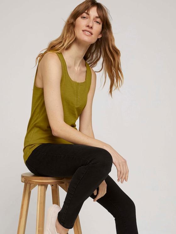 Henley Top mit Bio-Baumwolle - Frauen - gecko green - 5 - TOM TAILOR