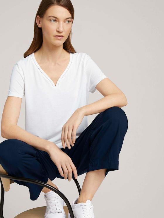 T-Shirt mit V-Ausschnitt - Frauen - Whisper White - 5 - TOM TAILOR