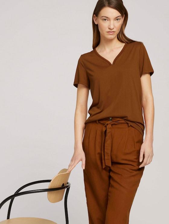 T-Shirt mit V-Ausschnitt - Frauen - Caramel Brown - 5 - TOM TAILOR