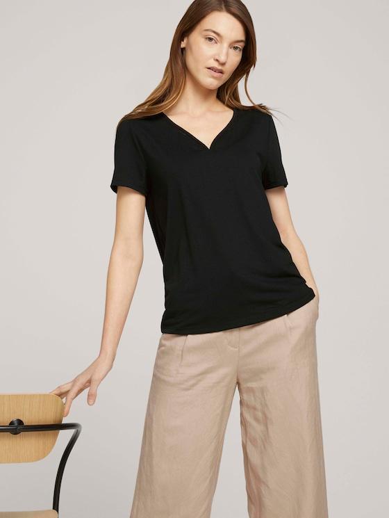 T-Shirt mit V-Ausschnitt - Frauen - deep black - 5 - TOM TAILOR