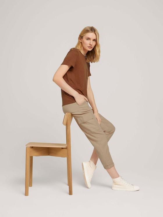 T-Shirt mit Brusttasche - Frauen - Caramel Brown - 5 - TOM TAILOR