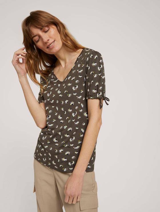 Gemustertes T-Shirt mit Ärmeldetail - Frauen - khaki small floral design - 5 - TOM TAILOR