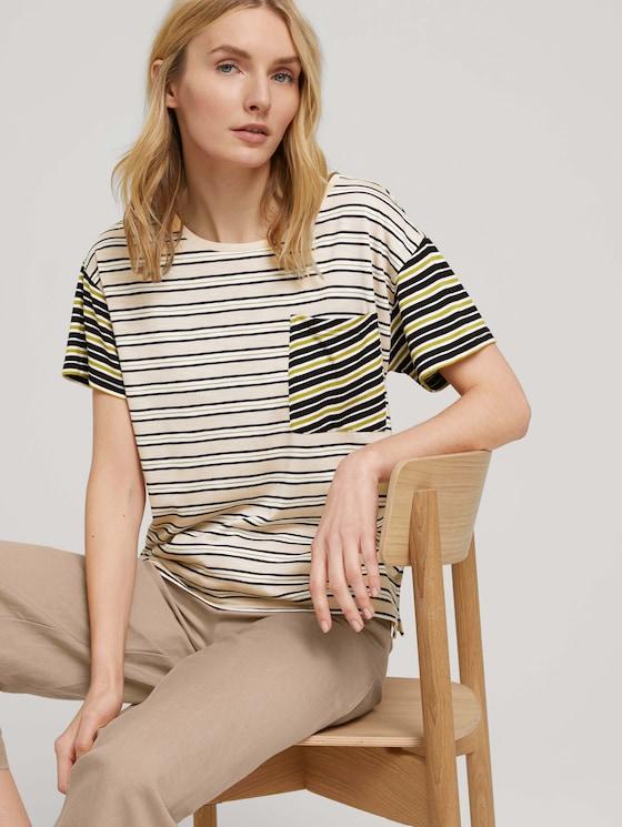 Gestreiftes Oversized T-Shirt - Frauen - beige black offwhite stripe - 5 - TOM TAILOR