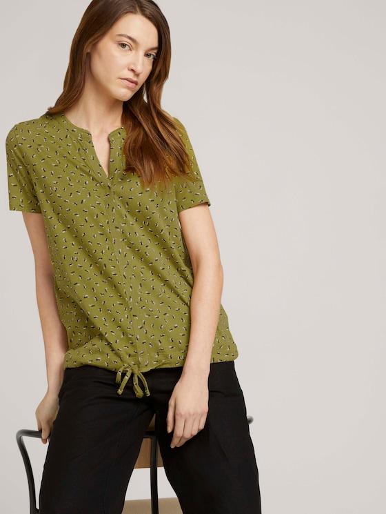 Gemustertes T-Shirt mit TENCEL™ - Frauen - green geometrical design - 5 - TOM TAILOR