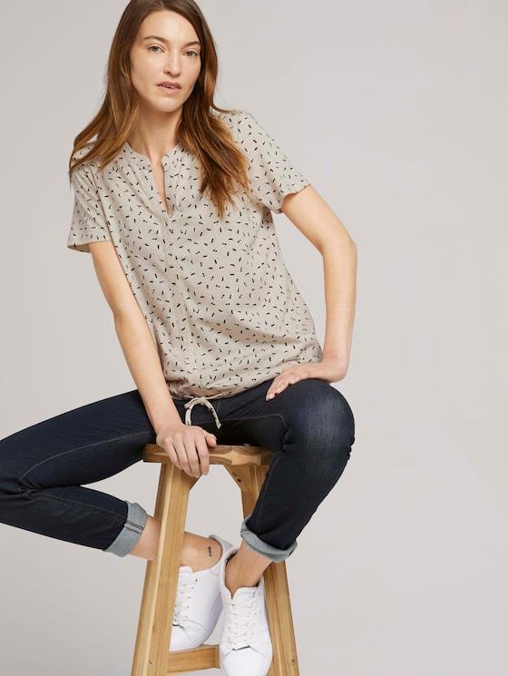 Gemustertes T-Shirt mit TENCEL™ - Frauen - beige geometrical design - 5 - TOM TAILOR