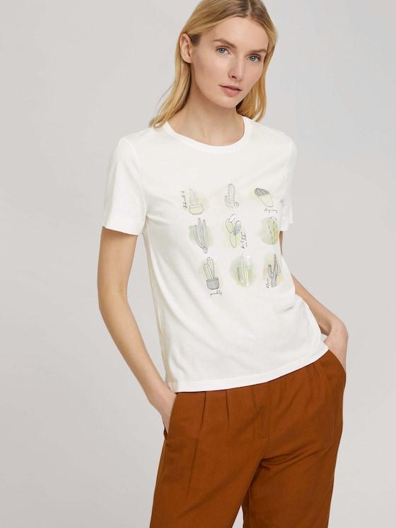 Print T-Shirt mit Bio-Baumwolle - Frauen - Whisper White - 5 - TOM TAILOR