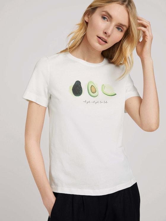 Print T-Shirt mit Bio-Baumwolle - Frauen - Dove White - 5 - TOM TAILOR