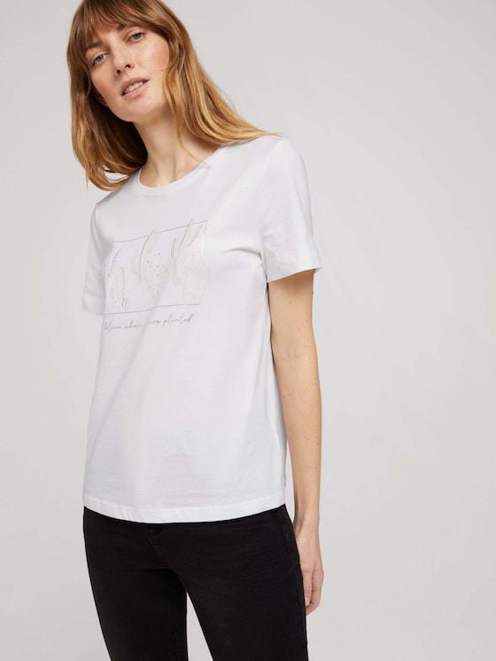 Print t-shirt made of organic cotton - Women - Off White - 5 - TOM TAILOR