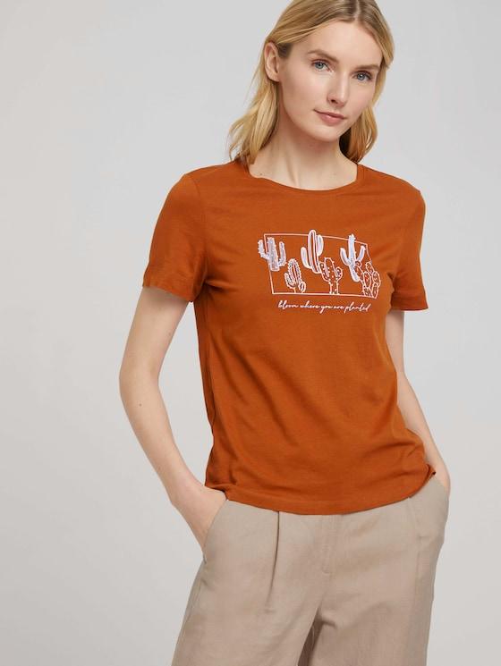 Print T-Shirt mit Bio-Baumwolle - Frauen - Caramel Brown - 5 - TOM TAILOR
