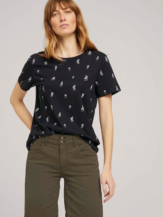 Print T-Shirt mit Bio-Baumwolle - Frauen - black white cactus design - 5 - TOM TAILOR