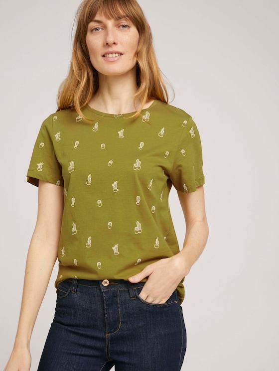 Print T-Shirt mit Bio-Baumwolle - Frauen - green white cactus design - 5 - TOM TAILOR