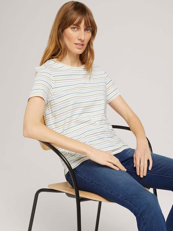 Print T-Shirt mit Bio-Baumwolle - Frauen - multicolor horizontal stripe - 5 - TOM TAILOR