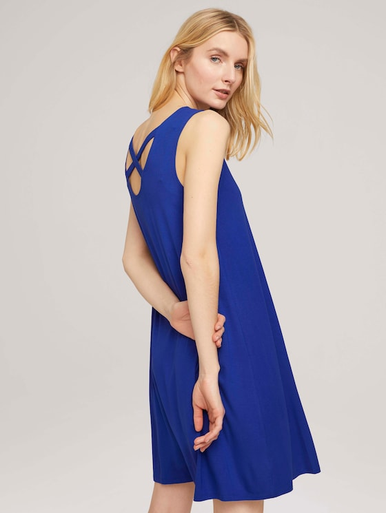 Jersey dress with back details - Women - anemone blue - 5 - TOM TAILOR