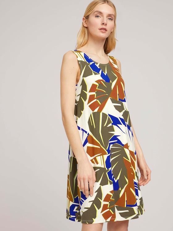 Jersey dress with back details - Women - multicolor botanical design - 5 - TOM TAILOR