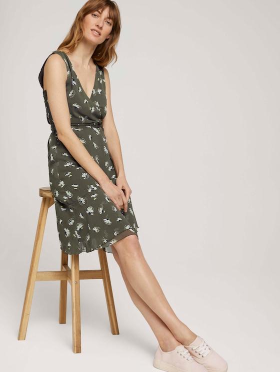 Gemustertes Chiffon Kleid mit Volants - Frauen - khaki floral design - 5 - TOM TAILOR