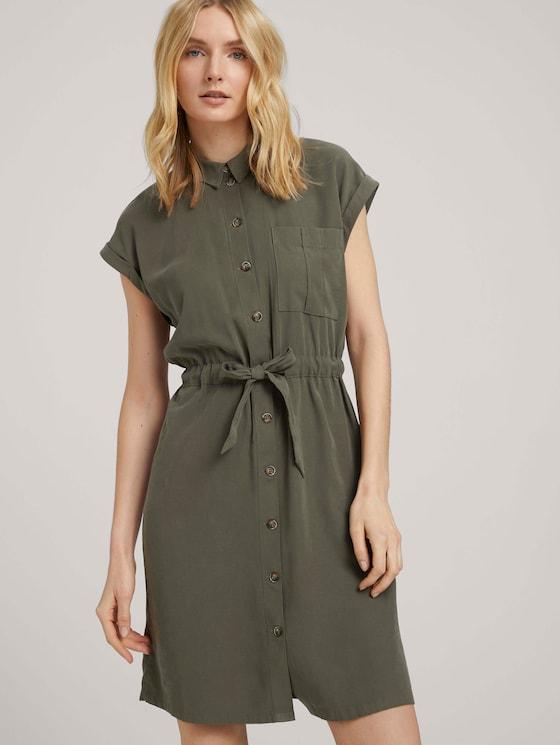 Utility Blusenkleid mit Bindedetail - Frauen - Grape Leaf Green - 5 - TOM TAILOR