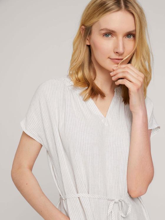Geplooide Midi Jurk met linnen - Vrouwen - offwhite thin stripe woven - 5 - TOM TAILOR