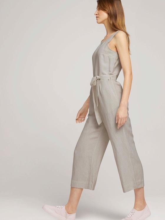 Lockerer Jumpsuit mit Leinen - Frauen - offwhite thin stripe woven - 5 - TOM TAILOR