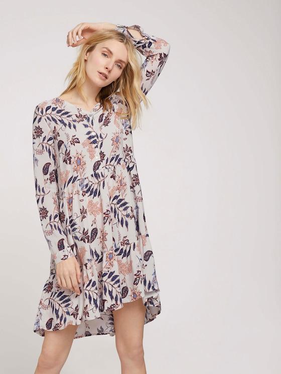 Blouse jurk met dessin en volants - Vrouwen - white floral design - 5 - TOM TAILOR