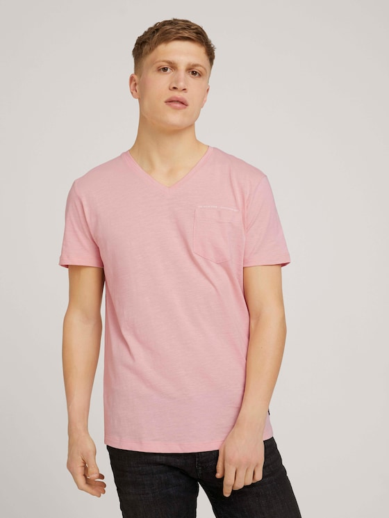 Gemêleerd T-shirt met borstzak - Mannen - soft peach skin - 5 - TOM TAILOR Denim