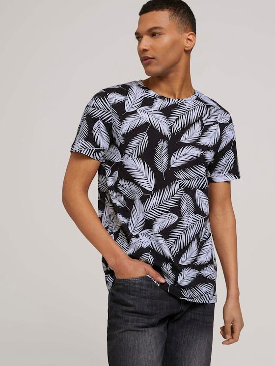 T-shirt met palmprint - Mannen - black white palm leaves print - 5 - TOM TAILOR Denim
