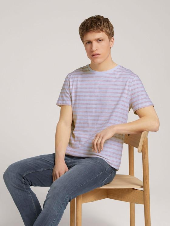 T-shirt with a striped pattern - Men - white orange injected stripe - 5 - TOM TAILOR Denim