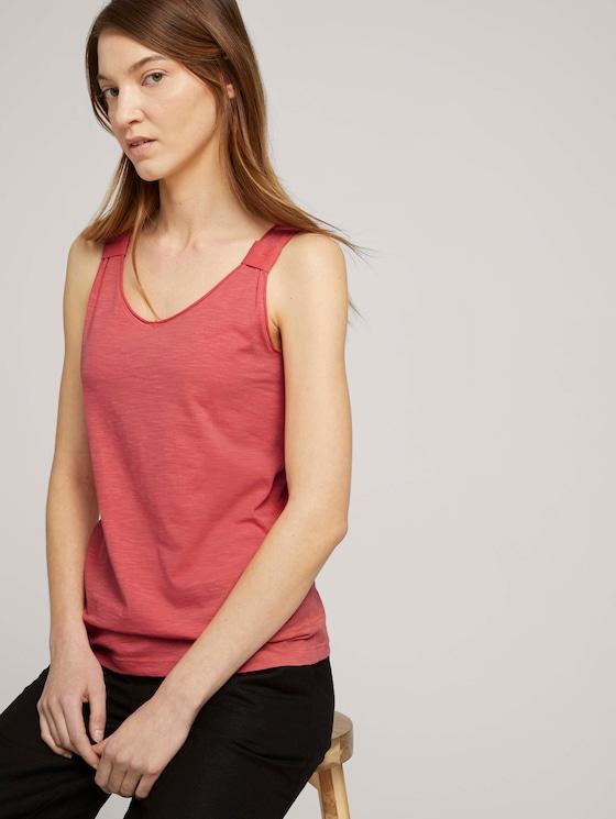 V-neckline with organic cotton - Women - flamingo flower - 5 - TOM TAILOR