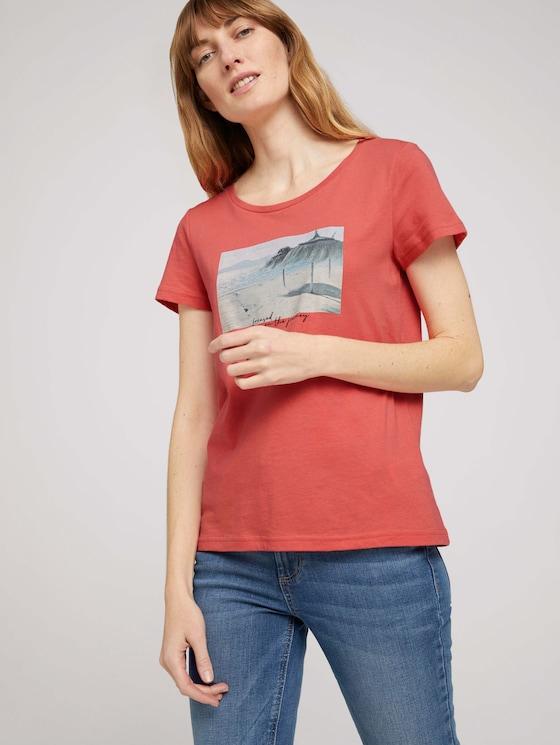 Print T-Shirt mit Bio-Baumwolle - Frauen - flamingo flower - 5 - TOM TAILOR