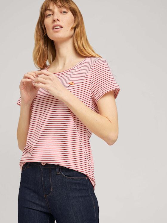 Print T-Shirt mit Bio-Baumwolle - Frauen - offwhite red stripe - 5 - TOM TAILOR