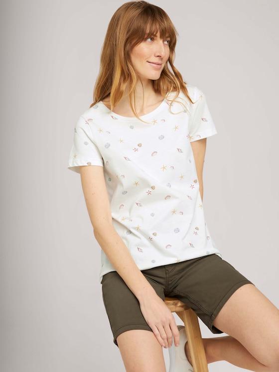 Print T-Shirt mit Bio-Baumwolle - Frauen - offwhite seashell design - 5 - TOM TAILOR