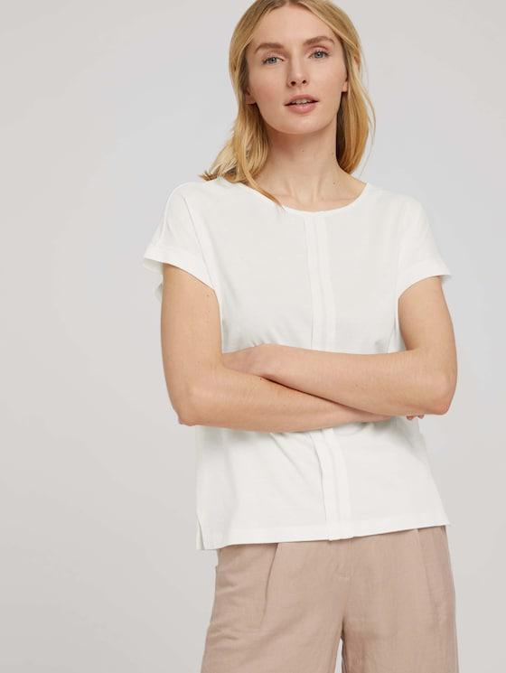 Loose Fit T-Shirt mit Faltenlegung - Frauen - Whisper White - 5 - TOM TAILOR