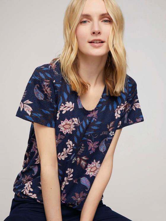 Gemustertes T-Shirt mit weiten Ärmeln - Frauen - navy floral design - 5 - TOM TAILOR