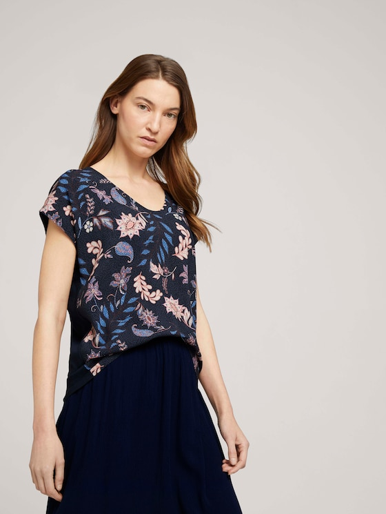 Gemustertes T-Shirt im Materialmix - Frauen - navy floral design - 5 - TOM TAILOR