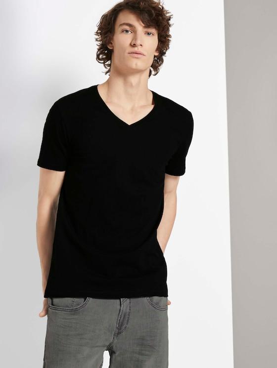Basic T-shirt in dubbele verpakking - Mannen - Black - 5 - TOM TAILOR Denim