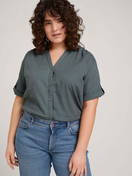Henleybluse mit Leinen - Frauen - washed jasper green - 5 - My True Me