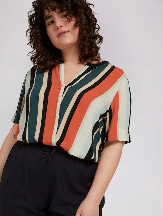 gestreifte Bluse mit schräger Leiste - Frauen - multicolor sahara stripe - 5 - My True Me