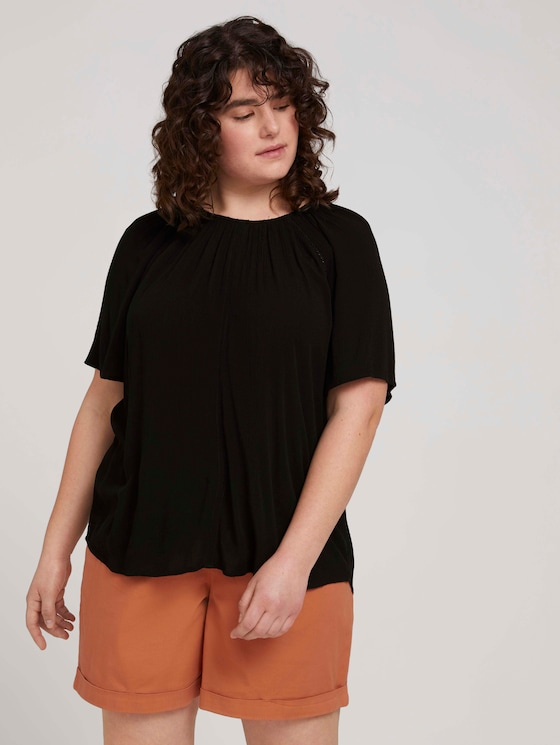 Curvy - Gemusterte Bluse mit LENZING™ ECOVERO™ - Frauen - deep black - 5 - My True Me