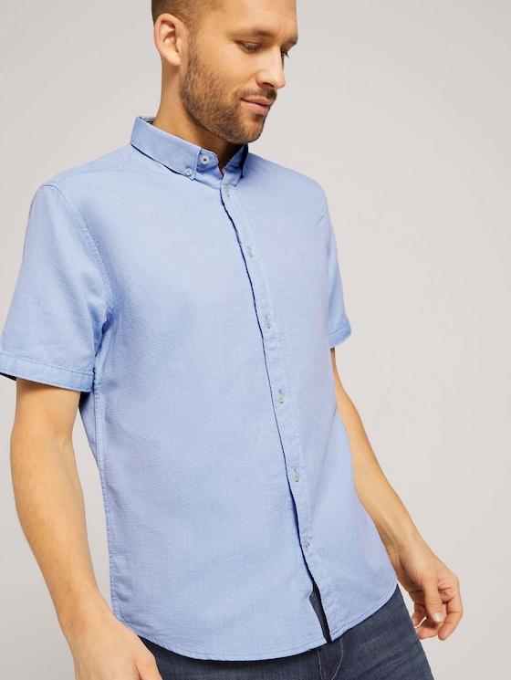 strukturiertes Kurzarmhemd - Männer - light blue white structure - 5 - TOM TAILOR