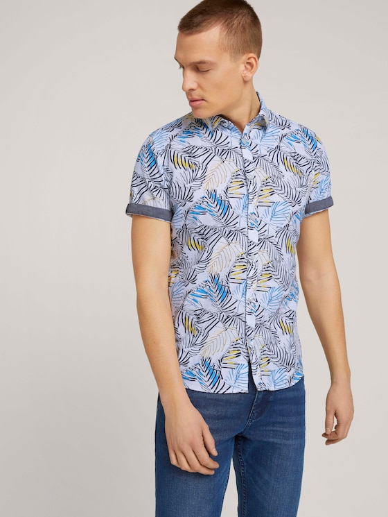 gemustertes Hemd aus Bio-Baumwolle - Männer - white colorful big leaf design - 5 - TOM TAILOR