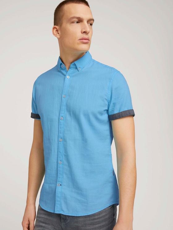 Strukturiertes Kurzarmhemd mit Bio-Baumwolle - Männer - aquarius turquoise - 5 - TOM TAILOR