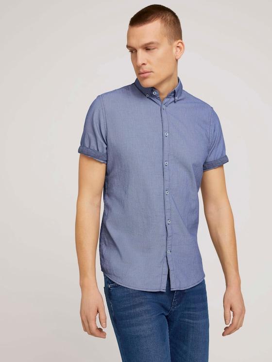 Strukturiertes Kurzarmhemd mit Bio-Baumwolle - Männer - after dark blue - 5 - TOM TAILOR