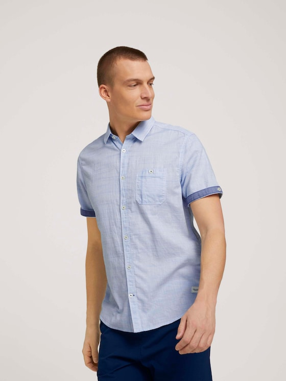 gestreept overhemd met korte mouwen - Mannen - light blue white structure - 5 - TOM TAILOR