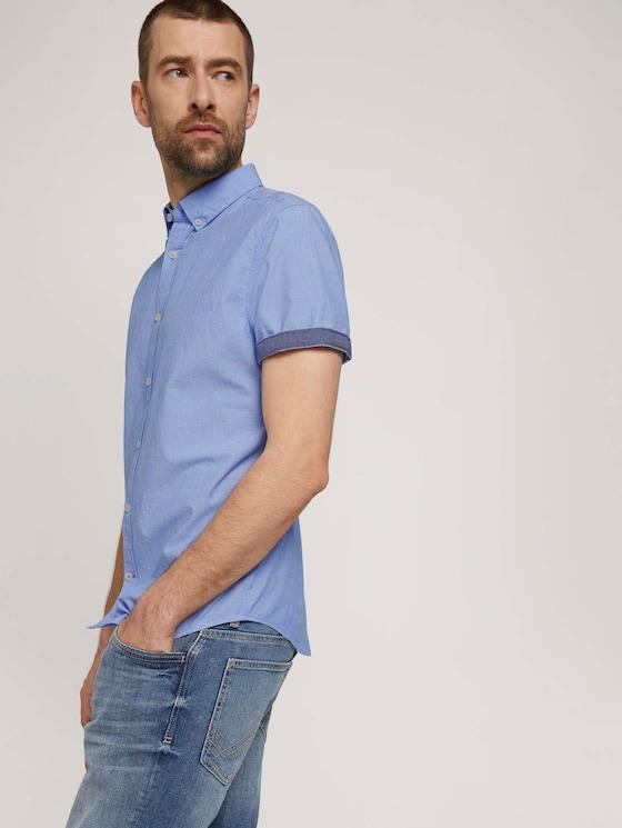 overhemd met korte mouwen getextureerd - Mannen - blue chambray with dobby - 5 - TOM TAILOR