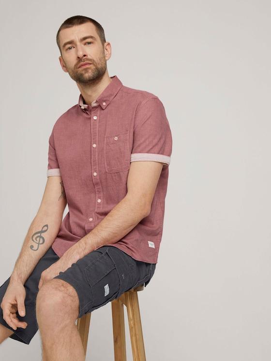 overhemd met korte mouwen - Mannen - red white two face twill - 5 - TOM TAILOR
