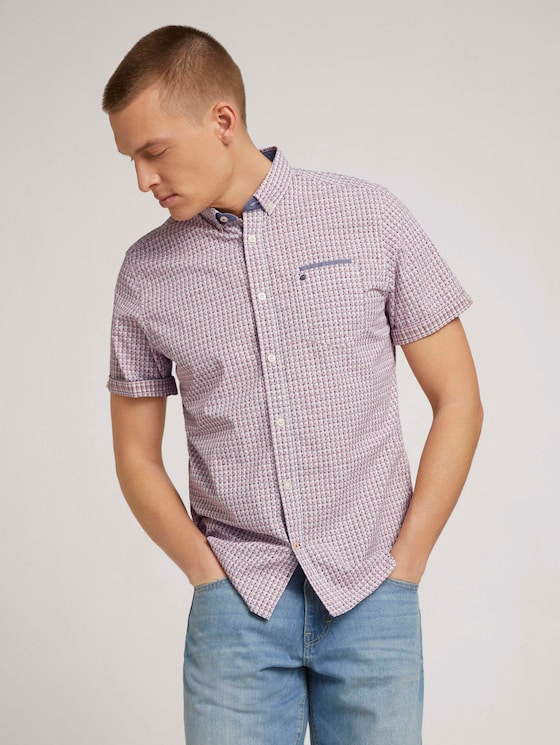 Geruit shirt met korte mouwen - Mannen - red off white check with print - 5 - TOM TAILOR