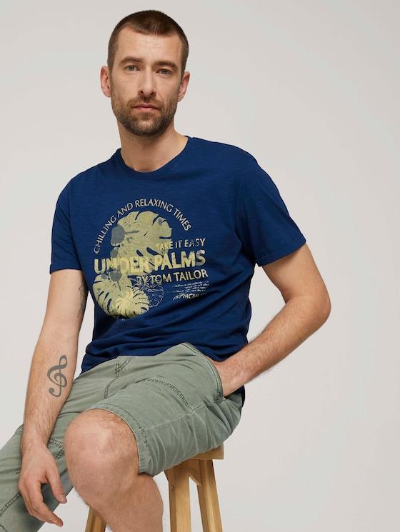 Print T-Shirt mit Bio-Baumwolle - Männer - after dark blue - 5 - TOM TAILOR