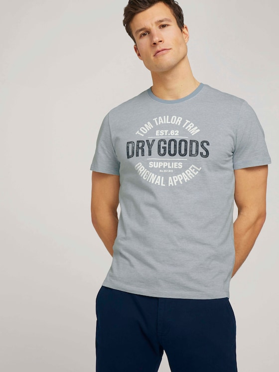 Gestreiftes T-Shirt mit Print - Männer - lightblue white stripe - 5 - TOM TAILOR